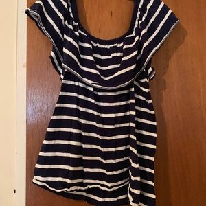 Tops - Nautical blue white Stripe off shoulder